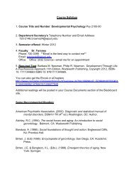 Course Syllabus 1. Course Title and Number: Developmental ...