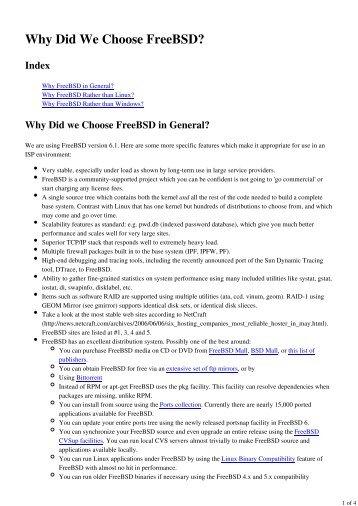 Why Did we Choose FreeBSD in General? - PacNOG