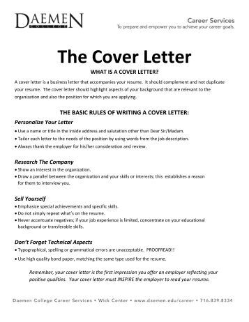 the cover letter best
