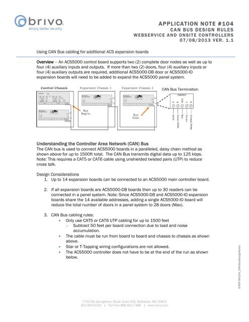 Application Note 104: CAN Bus Design Rules - Brivo Systems