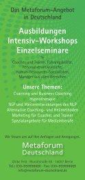 Ausbildungen Intensiv-Workshops Einzelseminare - Bildung.de