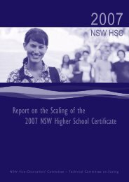 Report on the Scaling of the 2007 NSW Higher School Certificate