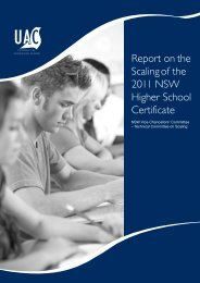 Report on the Scaling of the 2011 NSW Higher School Certificate