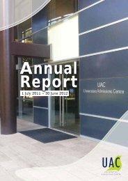 UAC Annual Report - Universities Admissions Centre