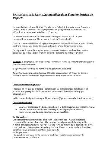 Les coulisses de la leçon : Les mobilités dans l'agglomération de ...