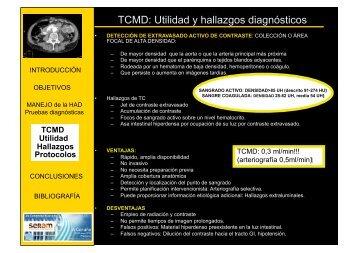TCMD: Utilidad y hallazgos diagnósticos