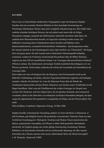 Kritik und Besetzung - Stephan Suschke