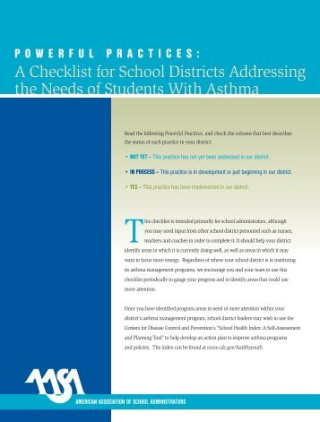 A Checklist for School Districts Addressing the Needs of Students ...