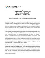 Tributaries Introduces Innovative Duo of HDMI v1 ... - Tributaries Cable