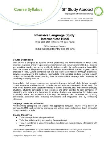 Intensive Language Study: Intermediate Hindi - syllabus
