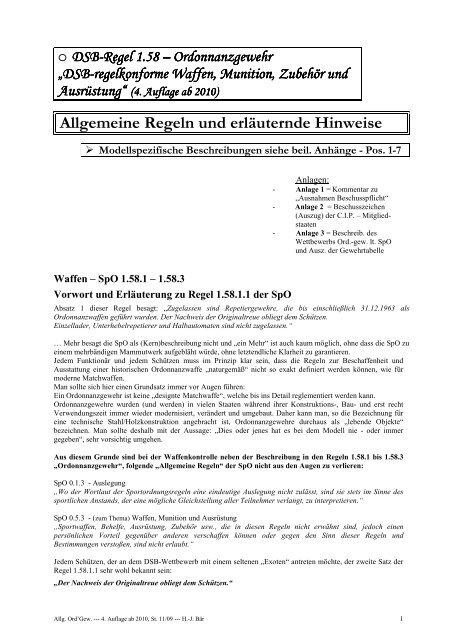 DSB-Regel 1.58 - Allgemeine Schützengesellschaft Euskirchen