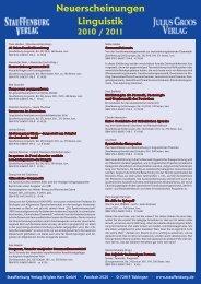 Neuerscheinungen Linguistik 2010 / 2011 - Stauffenburg Verlag