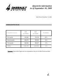 Quarterly information As of September 30, 2009 - Dassault Aviation