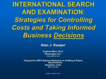 Strategies for Controlling Costs and Taking Informed Business - WIPO