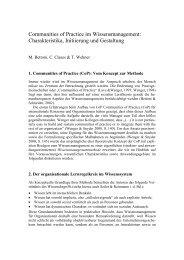 Communities of Practice im Wissensmanagement: - ZOA