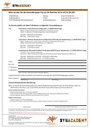 Bitte senden Sie die Anmeldung per Fax an die ... - Synaxon AG