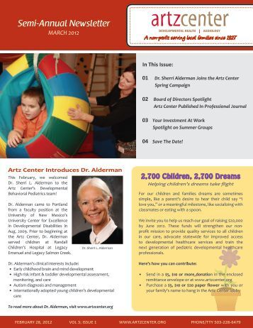 Semi-Annual Newsletter MARCH 2012 - Artz Center