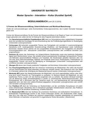 Modulhandbuch - Germanistische Linguistik - Universität Bayreuth