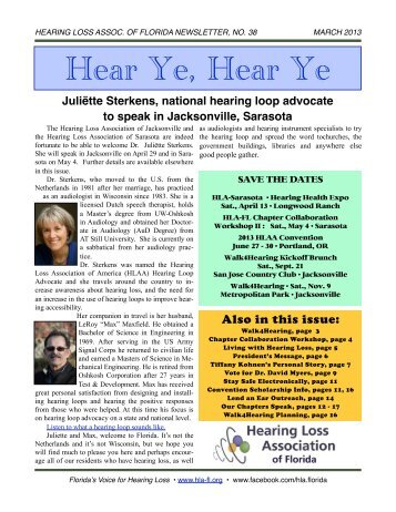 March 2013 E-Newsletter - Hearing Loss Association of Florida