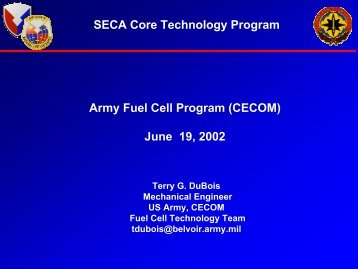 Army Fuel Cell Program - National Energy Technology Laboratory