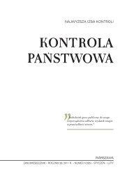 """""""Kontrola Państwowa"""" nr 1/2011 - Najwyższa Izba Kontroli"""