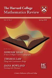 Vol. 2, No. 1, Spring 2008 - Harvard College Mathematics Review
