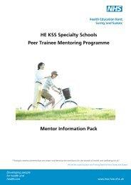 HE KSS Specialty Schools Peer Trainee Mentoring ... - KSS Deanery