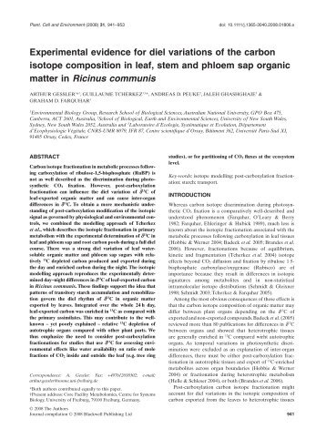 Experimental evidence for diel variations of the carbon isotope ...