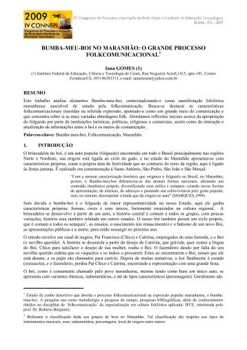 BUMBA-MEU-BOI NO MARANHÃO: O GRANDE PROCESSO ...