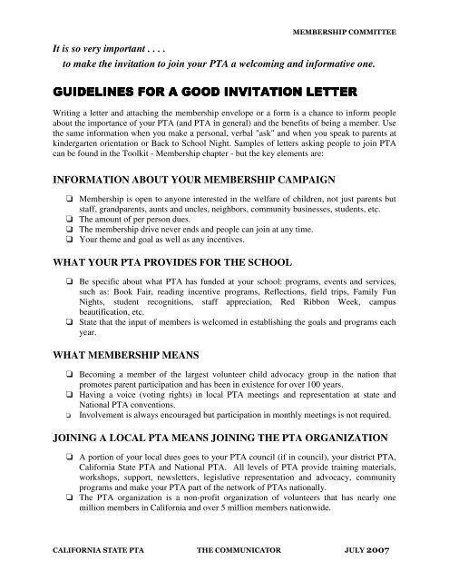 School Invitation Letter For Parents