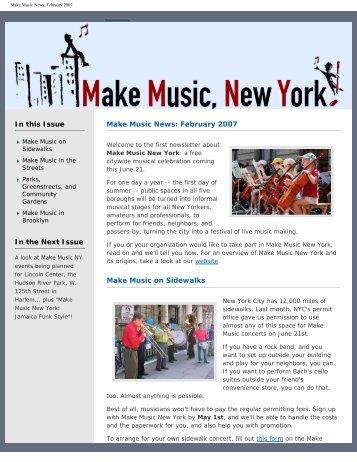 Make Music News, February 2007 - Make Music New York