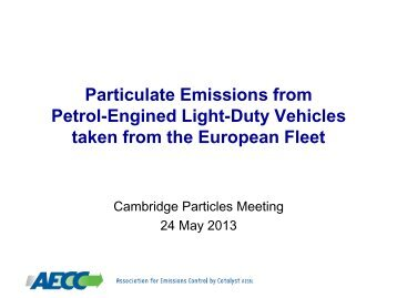 Particulate emissions from petrol-engined light-duty vehicles taken ...