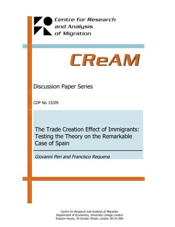 Discussion Paper Series The Trade Creation Effect of Immigrants ...