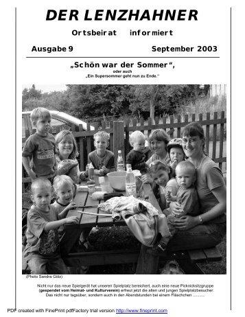 DER LENZHAHNER Ortsbeirat informiert Ausgabe 9 ... - lenzhahn.de