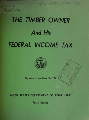FEDERAL INCOME TAX - Timber Taxes