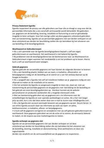 1 / 1 Privacy Statement Egardia Egardia respecteert de privacy van