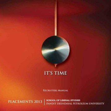 SLS Placements Brochure 2013 - School of Liberal Studies - PDPU