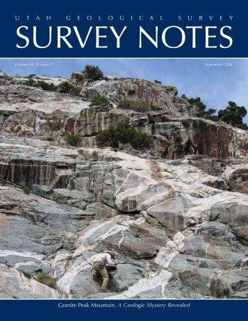 September 2006 Survey Notes - Utah Geological Survey - Utah.gov