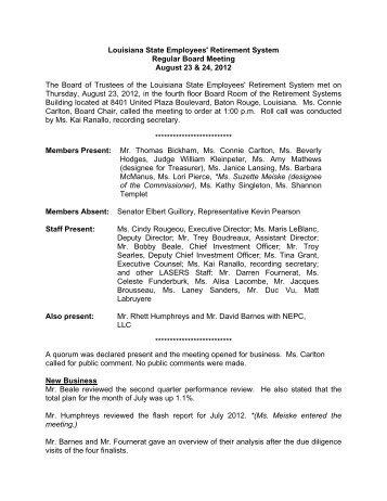 Regular Board Meeting Minutes - Louisiana State Employees ...