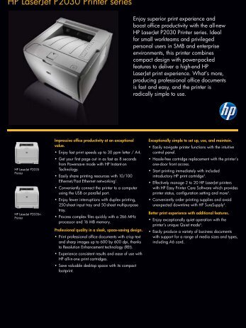 HP LaserJet P2030 Printer series - Faxcomm