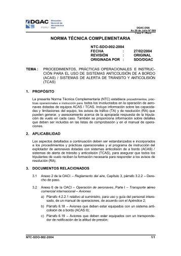 NTC-SDO-002-2004 - Ministerio de Transportes y Comunicaciones