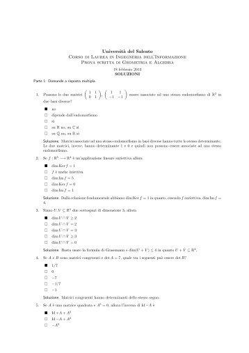 Prova scritta del 18 febbraio 2013, testo e soluzioni