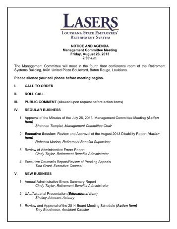 Notice and agenda management committee meeting friday management committee meeting agenda louisiana state thecheapjerseys Gallery