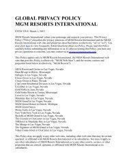 GLOBAL PRIVACY POLICY MGM RESORTS INTERNATIONAL