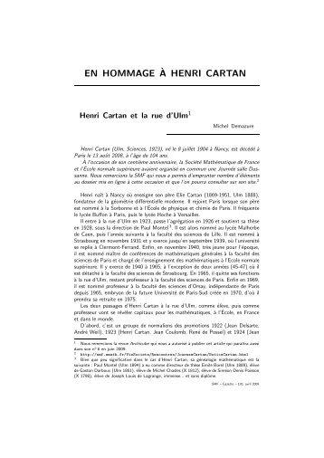 EN HOMMAGE`A HENRI CARTAN - Emath.fr