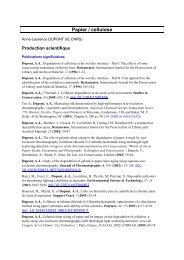 Papier / cellulose - CRCC : Centre de recherche sur la conservation ...