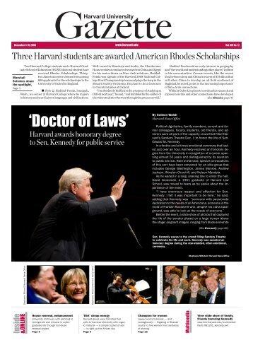 Harvard University Gazette December 4-10, 2008 - Harvard News ...