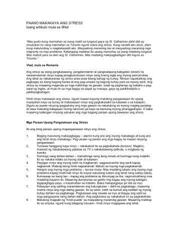 PAANO MAKAKAYA ANG STRESS Isang artikulo mula sa Web