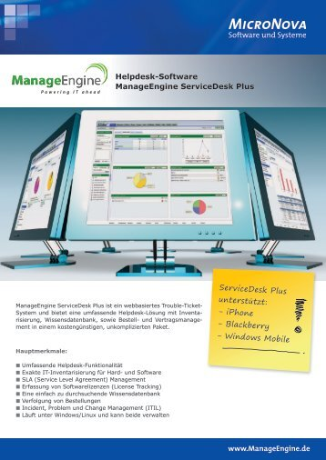 www.ManageEngine.de Helpdesk-Software ManageEngine ...