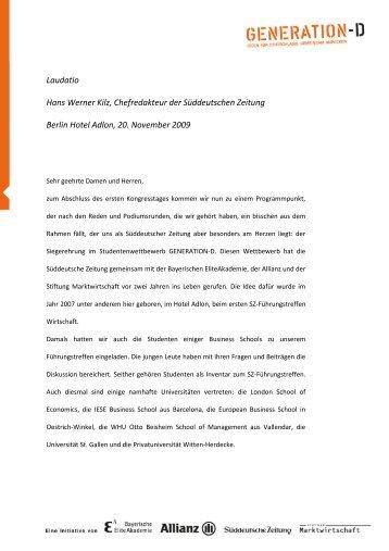 Laudatio Hans Werner Kilz, Chefredakteur der ... - Generation-D